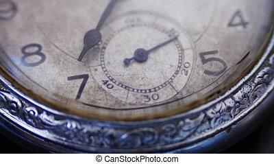 closeup, coutil, horloge, secondes, figure, vendange, fermé