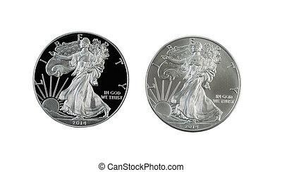 closeup, dollar, américain, isolé, photo, aigle, côté, pièces, uncirculated, preuve, argent, blanc