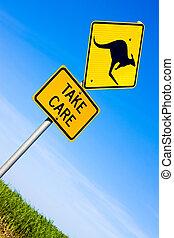closeup, signe kangourou, route