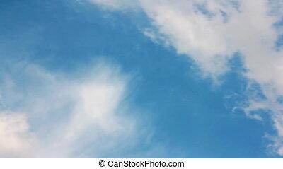 closeup, sur, ciel bleu, nuages, blanc
