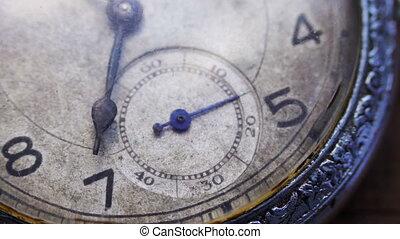 closeup, vendange, horloge, poche