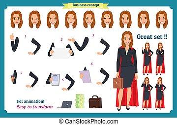 clothes., business, différent, super, blond, isolé, bureau, ensemble, vecteur, dessin animé, plat, poses., femme affaires, conception, style., caractère, femmes, illustration, blanc
