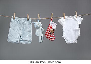 clothesline, garçon, sacs, bébé, santa, vêtements