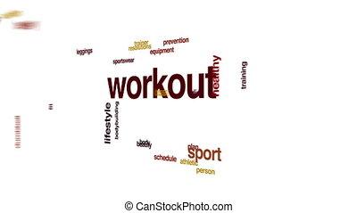 cloud., régime, animé, séance entraînement, mot