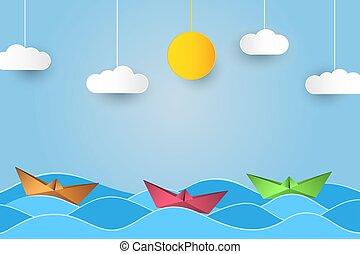 clouds., bateau papier, waves., soleil, style, origami, bateau, vecteur, art, fond, voile, océan