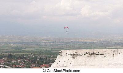 clouds., ciel, sur, rouges, -, sports, extrême, parachute, vacances