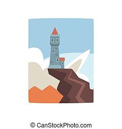 clouds., fantasme, conception, enfants, montagne bleue, peu, cliff., sommet, entouré, ciel, livre, blanc, plat, jeu, pic, impression, couverture, s, vecteur, château, ou, forteresse