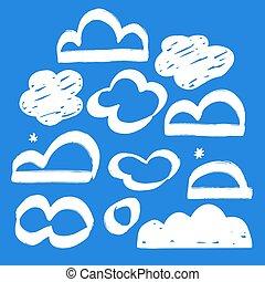 clouds., nuage, hand-drawn, ensemble, collection, vecteur
