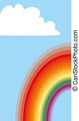 cloudscape, nuages, illustration, vecteur, rainbow., fond