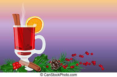 clous girofle, couper, chauffé, isolé, chaud, cannelle, fruits, orange, épices, vin