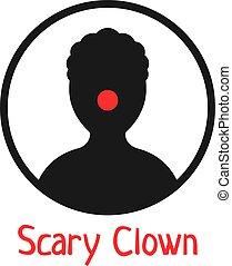 clown, simple, noir, icône, effrayant