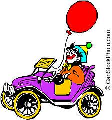 clown, voiture, sien
