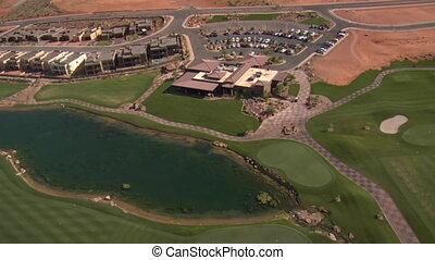 club, aérien, lac, cours, coup, désert