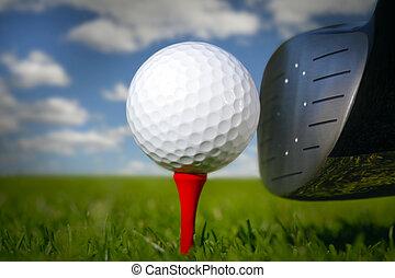 club, balle golf, herbe