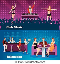 club danse, ensemble, bannières, 2, plat