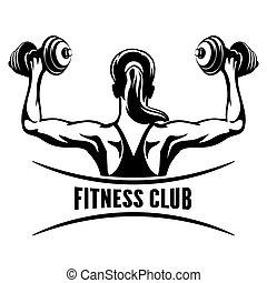 club, emblème, fitness