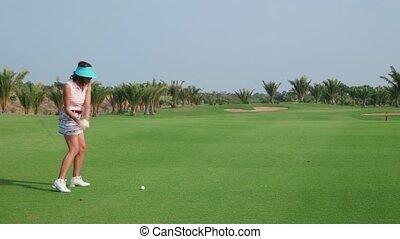 club, golf, femme, jouer, pays