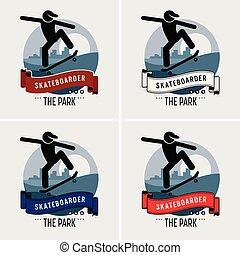 club, logo, skateboarder, design.