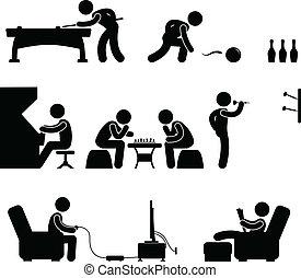 club, snooker, intérieur, piscine, activité