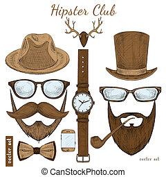 club, vendange, hipster, accessoires