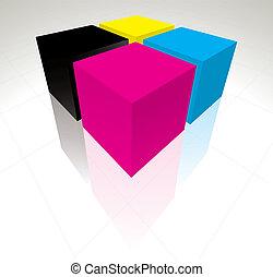 cmyk, cubes, 3d