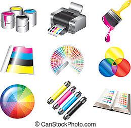 cmyk, impression, couleurs, ensemble, icônes