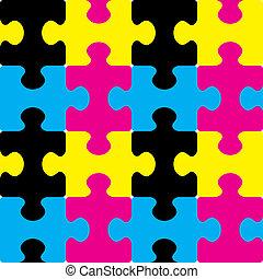 cmyk, puzzle, seamless