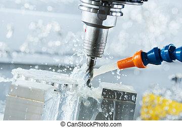 cnc, moudre, moulin, vertical, métal, process., metalwork, usinage