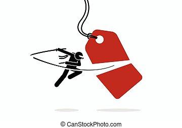 coût, half., étiquette, entaille, coupures, ninja