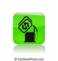 coût, isolé, illustration, unique, vecteur, carburant, icône
