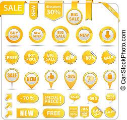 coût, jaune, étiquettes