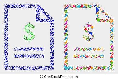 coût, vecteur, triangles, page, mosaïque, icône