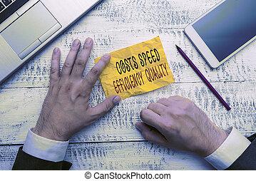 coûts, signification, vitesse, inputs, quality., texte, efficace, opération, balance., écriture, concept, écriture, efficacité, outputs