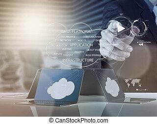 co, fonctionnement, calculer, diagramme, homme affaires, nouveau, nuage
