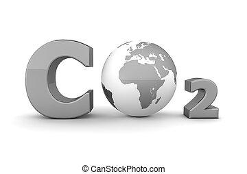 co2, global, -, gris, bioxyde, carbone, brillant