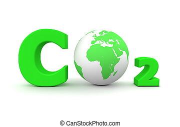 co2, global, -, vert, bioxyde, carbone