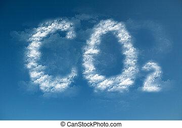 co2, nuages, formulaire, symbole, global, -, chauffage
