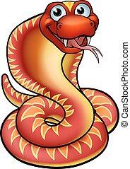 cobra, caractère, dessin animé, serpent