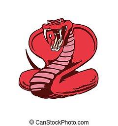 cobra, illustration., caractère, mascot., vecteur, serpent, animal, dessin animé