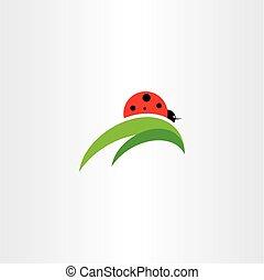 coccinelle, vecteur, feuille, icône, logo