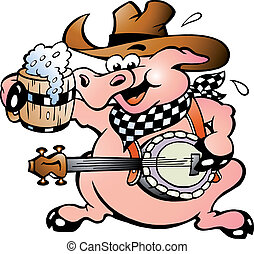 cochon, banjo, jouer