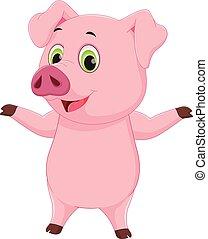 cochon, dessin animé, mignon, onduler