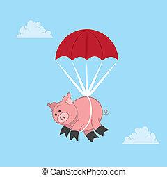 cochon, parachutage
