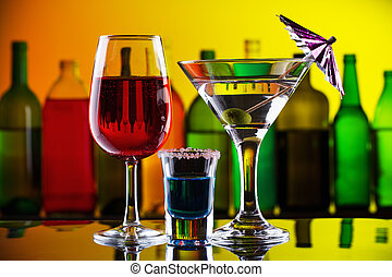 cocktails, barre, alcool, boissons