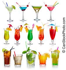 cocktails, blanc, ensemble, alcool, isolé