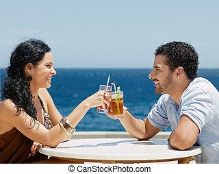 cocktails, heureux, grillage, mari, épouse