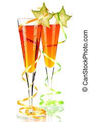 cocktails, orange, carambola, alcool, deux
