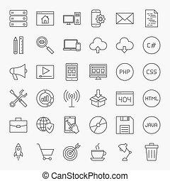 codage, ligne, icônes, ensemble