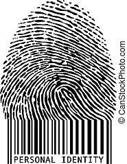 code barres, empreinte doigt