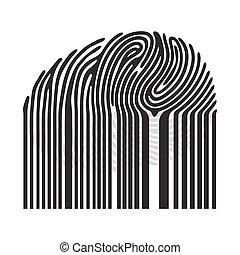 code barres, noir, empreinte doigt